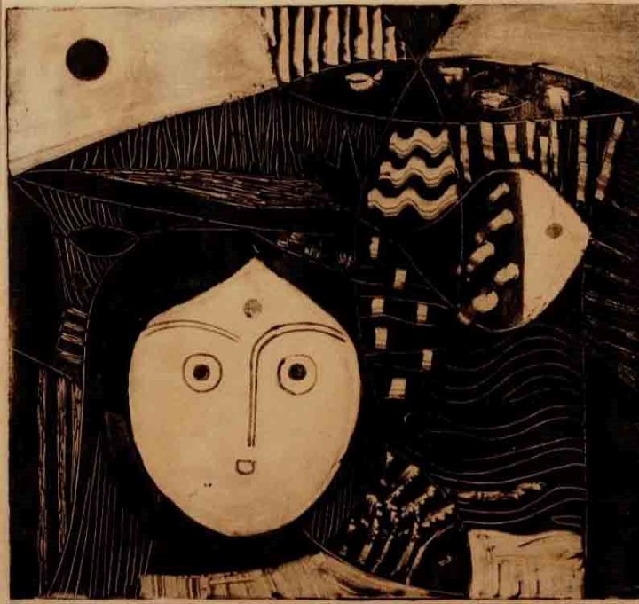 JIVAN ADALJA GIRL AND FISH GRAPHIC ON PAPER (GRAPHIC) 29 X 32 CMS 1960